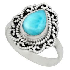 925 silver 2.41cts natural blue larimar solitaire ring jewelry size 7.5 r52429