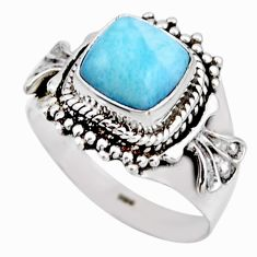 925 silver 3.28cts natural blue larimar solitaire ring jewelry size 7.5 r53544