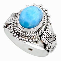 925 silver 4.38cts natural blue larimar solitaire ring jewelry size 6.5 r53557