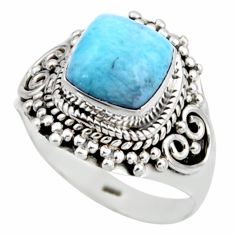 925 silver 3.01cts natural blue larimar solitaire ring jewelry size 6.5 r53560