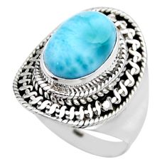925 silver 4.21cts natural blue larimar solitaire ring jewelry size 6.5 r53571