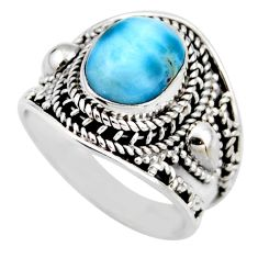 925 silver 4.38cts natural blue larimar solitaire ring jewelry size 7.5 r53649