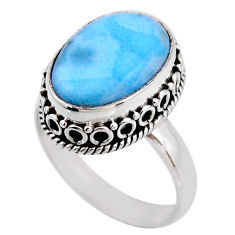 925 silver 7.66cts natural blue larimar solitaire ring jewelry size 8.5 r53768