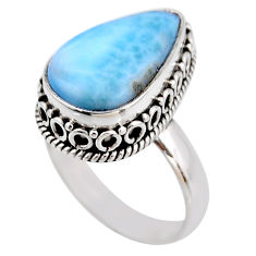 925 silver 6.84cts natural blue larimar solitaire ring jewelry size 7.5 r53774