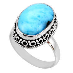 925 silver 7.35cts natural blue larimar solitaire ring jewelry size 8.5 r53786