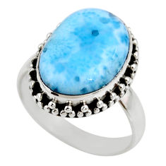 925 silver 7.82cts natural blue larimar solitaire ring jewelry size 7.5 r53816