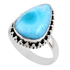925 silver 9.25cts natural blue larimar solitaire ring jewelry size 8.5 r53820