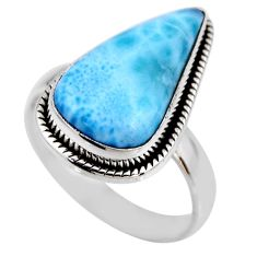 925 silver 7.04cts natural blue larimar solitaire ring jewelry size 7.5 r53838