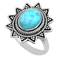 925 silver 4.38cts natural blue larimar solitaire ring jewelry size 7.5 r54324
