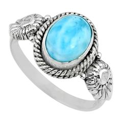 925 silver 3.31cts natural blue larimar solitaire ring jewelry size 8.5 r57468