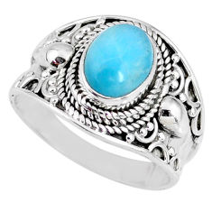 925 silver 3.13cts natural blue larimar solitaire ring jewelry size 8.5 r58264