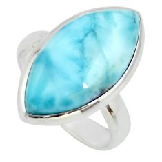 925 silver 11.25cts natural blue larimar solitaire ring jewelry size 6 r26215