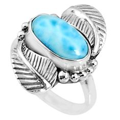 925 silver 3.01cts natural blue larimar solitaire ring jewelry size 6 r67313