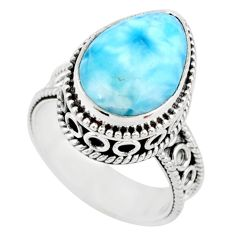 925 silver 6.72cts natural blue larimar solitaire ring jewelry size 6 r83766