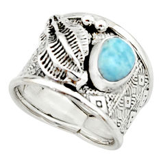 925 silver 2.40cts natural blue larimar solitaire ring jewelry size 7 r22395