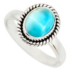 925 silver 3.31cts natural blue larimar solitaire ring jewelry size 7 r26377