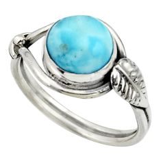 925 silver 3.09cts natural blue larimar solitaire ring jewelry size 7 r41524