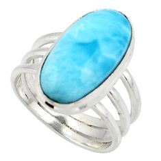 925 silver 7.66cts natural blue larimar solitaire ring jewelry size 7 r48099