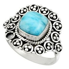 925 silver 3.14cts natural blue larimar solitaire ring jewelry size 7 r52434