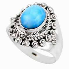 925 silver 3.19cts natural blue larimar solitaire ring jewelry size 7 r53549
