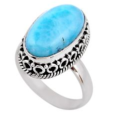 925 silver 7.40cts natural blue larimar solitaire ring jewelry size 7 r53778