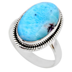925 silver 7.04cts natural blue larimar solitaire ring jewelry size 7 r53829
