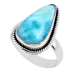 925 silver 7.33cts natural blue larimar solitaire ring jewelry size 7 r53834