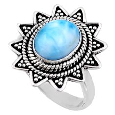 925 silver 4.21cts natural blue larimar solitaire ring jewelry size 7 r54308
