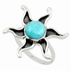 925 silver 3.26cts natural blue larimar solitaire ring jewelry size 8 r41464