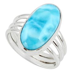 925 silver 8.14cts natural blue larimar solitaire ring jewelry size 8 r48089