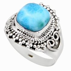 925 silver 4.86cts natural blue larimar solitaire ring jewelry size 8 r53553