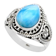 925 silver 5.11cts natural blue larimar solitaire ring jewelry size 8 r53573