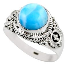 925 silver 4.43cts natural blue larimar solitaire ring jewelry size 8 r53580