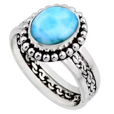 925 silver 4.25cts natural blue larimar solitaire ring jewelry size 8 r54304