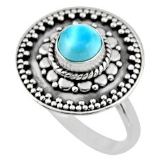 925 silver 1.16cts natural blue larimar solitaire ring jewelry size 8 r54367