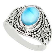 925 silver 3.47cts natural blue larimar solitaire ring jewelry size 8 r58268