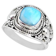 925 silver 3.62cts natural blue larimar solitaire ring jewelry size 8 r58271
