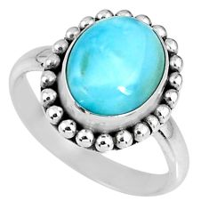925 silver 5.16cts natural blue larimar solitaire ring jewelry size 8 r58531