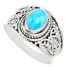 925 silver 2.17cts natural blue larimar solitaire ring jewelry size 8 r69048