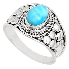 925 silver 2.20cts natural blue larimar solitaire ring jewelry size 8 r69069