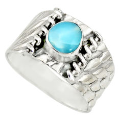 925 silver 2.02cts natural blue larimar solitaire ring jewelry size 9 r34444