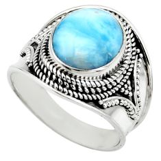 925 silver 5.01cts natural blue larimar solitaire ring jewelry size 9 r52184