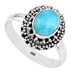 925 silver 2.09cts natural blue larimar solitaire handmade ring size 7.5 t15888
