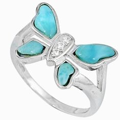 925 silver natural blue larimar topaz butterfly ring size 7 a33123 c15147
