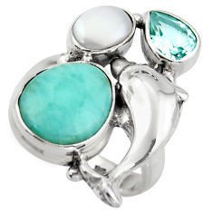 925 silver 8.28cts natural blue larimar topaz pearl dolphin ring size 6.5 d46068