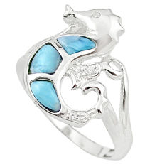 925 silver natural blue larimar topaz seahorse ring size 8.5 a63125 c15186