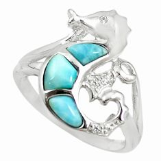 925 silver natural blue larimar topaz seahorse ring size 8.5 a68679 c15198