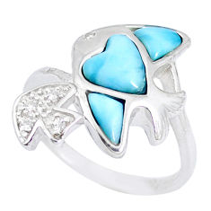 925 silver natural blue larimar white topaz fish ring size 8 a48938 c15034