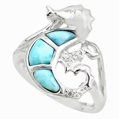 925 silver natural blue larimar white topaz seahorse ring size 7 a68677 c15192