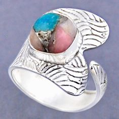 925 silver 5.16cts natural blue opal in turquoise adjustable ring size 10 r54818